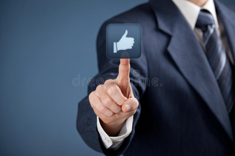 Like - social media. Social media concept. Businessman click on the like button