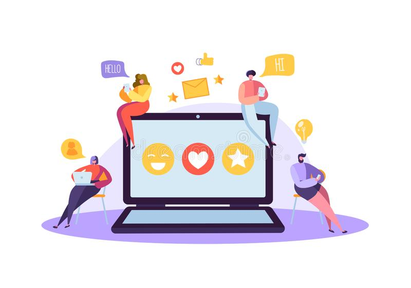 Social Media Concept with Characters Chatting on Gadgets. Group of Flat People Using Mobile Devices. Social Networking. Social Media Concept with Characters vector illustration