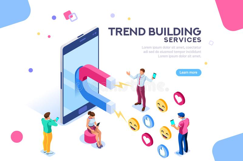 Social Media Followers Trend Concept Flat Isometric. Social media concept with characters. Followers follow social trend, people talking and share a chat, tag or stock illustration