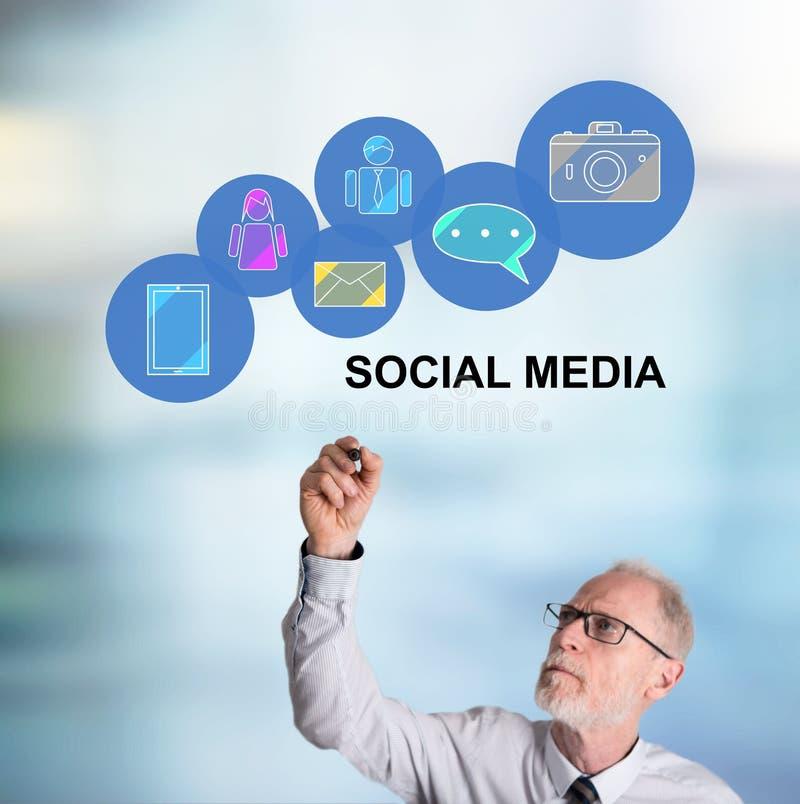 Businessman drawing social media concept. Social media concept drawn by a businessman stock photography