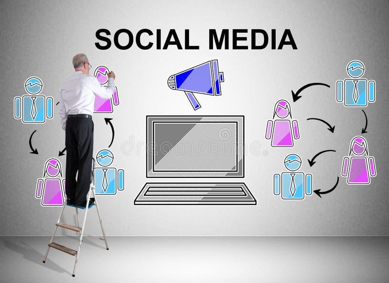 Social media concept drawn by a man on a ladder stock photos