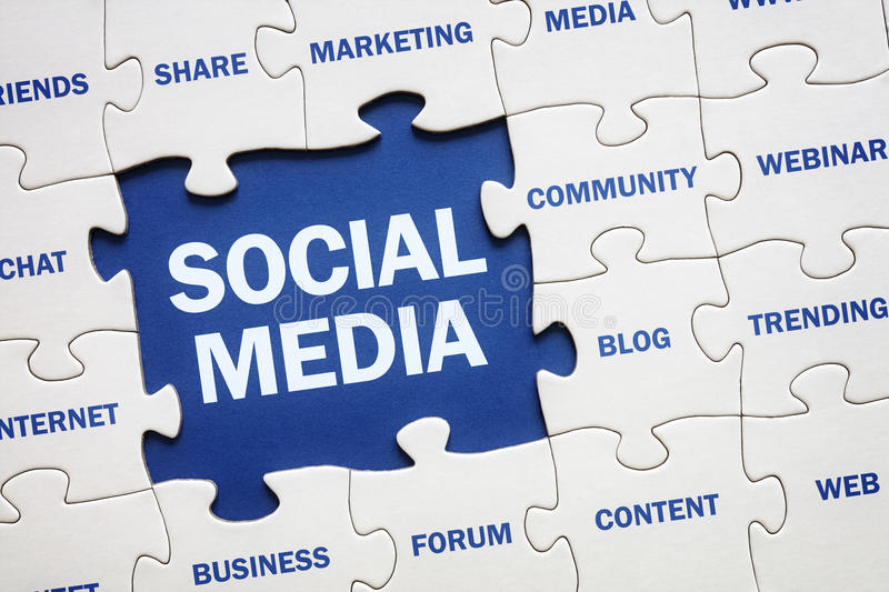 Social media. Concept jigsaw piece reading marketing, networking, community, internet etc