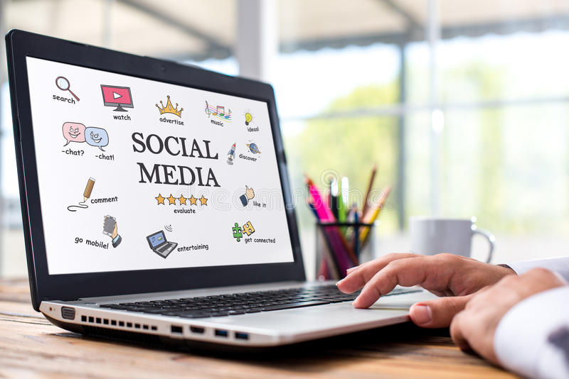 Social Media Concept On Laptop Screen royalty free stock images