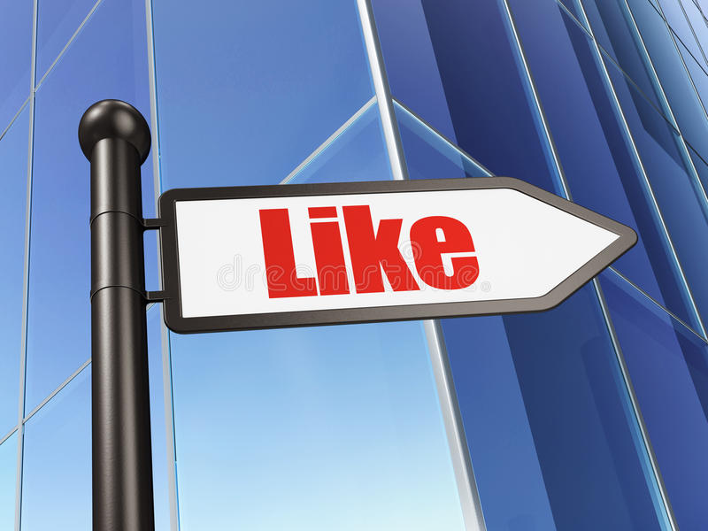 Download Social Media Concept: Like On Building Background Stock Illustration - Image: 39534155