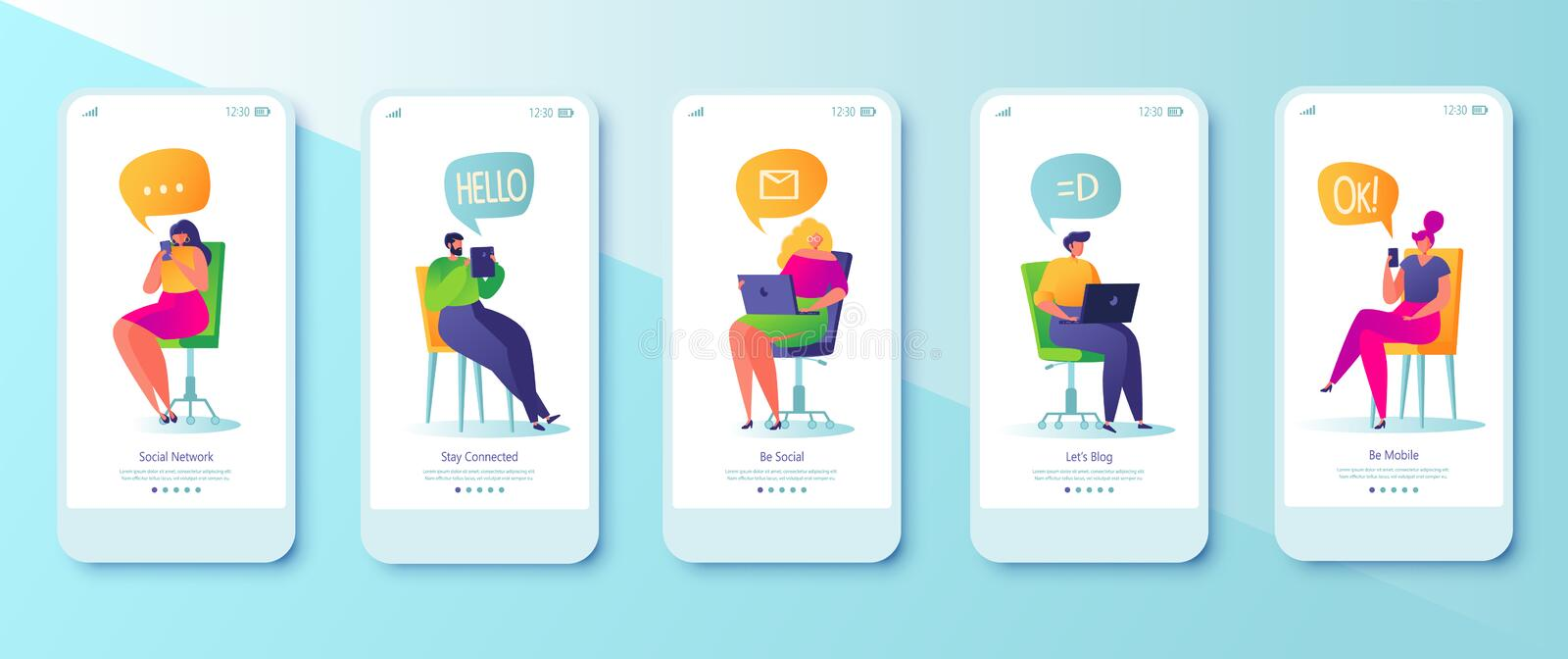 Social media concept  for mobile app page, onboard screen set. Vector illustration with set of flat people characters chatting in social network for mobile stock illustration