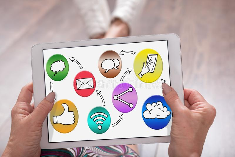 Social media concept on a tablet stock photo