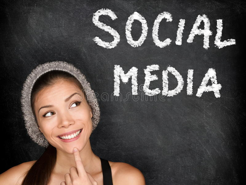 Social media concept with university student stock images