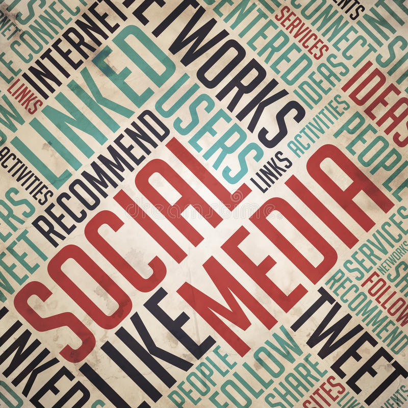 Social Media Concept - Vintage Wordcloud. Social Media in Red and Blue Color. Vintage Wordcloud Concept stock images