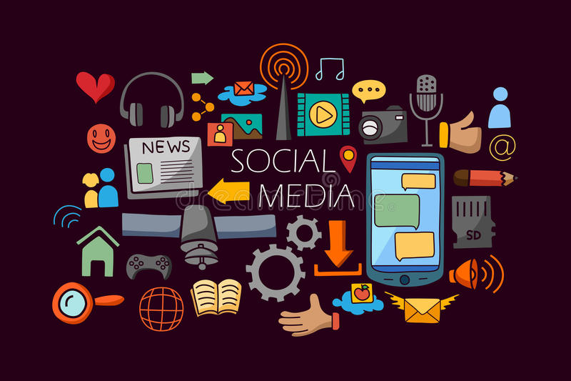Line Art Media Design : Social media concept for web design template stock vector