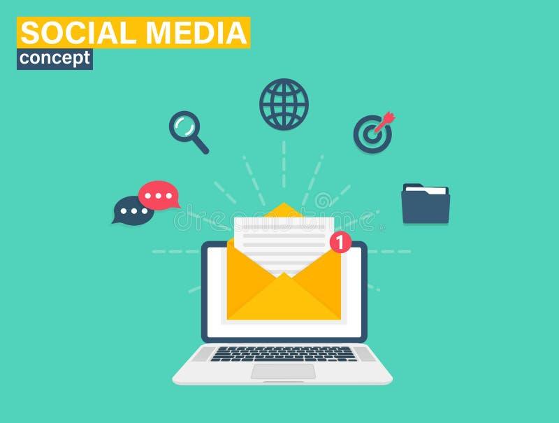 Social Media Concept for web site. Flat design, vector illustration on background. vector illustration