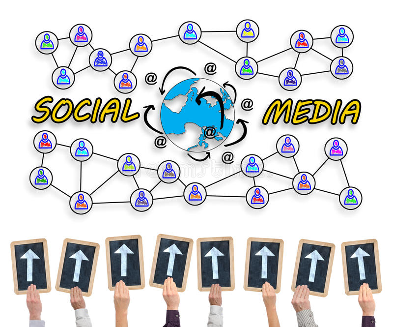Social media concept on a whiteboard vector illustration