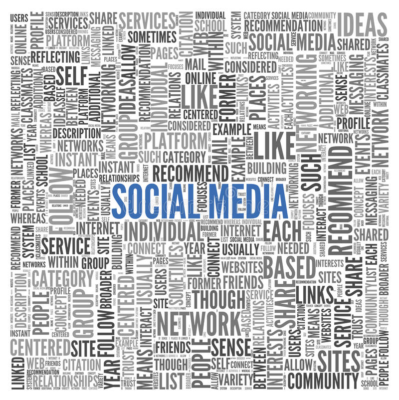 Social media concept in word tag cloud. On white background vector illustration