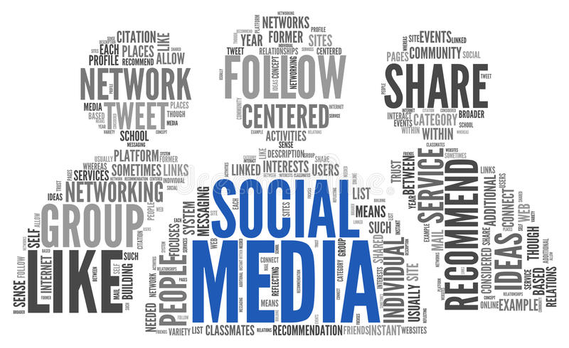 Social media conept in word tag cloud royalty free illustration