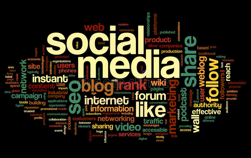 Download Social Media Conept In Word Tag Cloud Royalty Free Stock Images - Image: 34259379