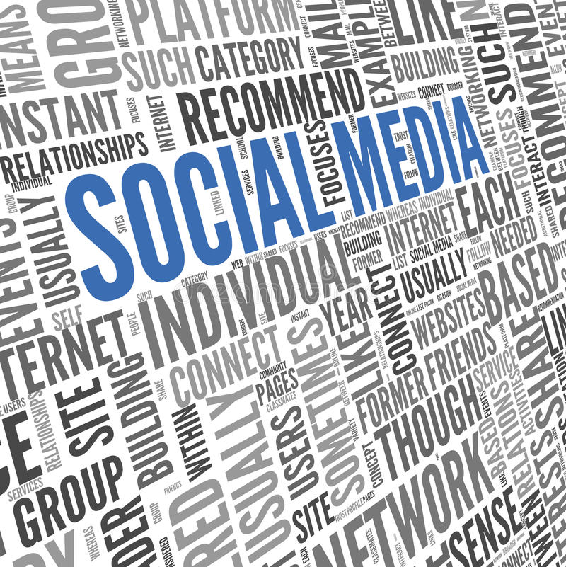 Social media conept in word tag cloud. Social media concept in word tag cloud on white background stock photography