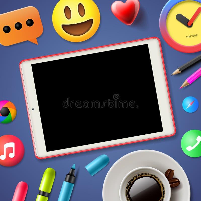 Social media connecting blog stock illustration