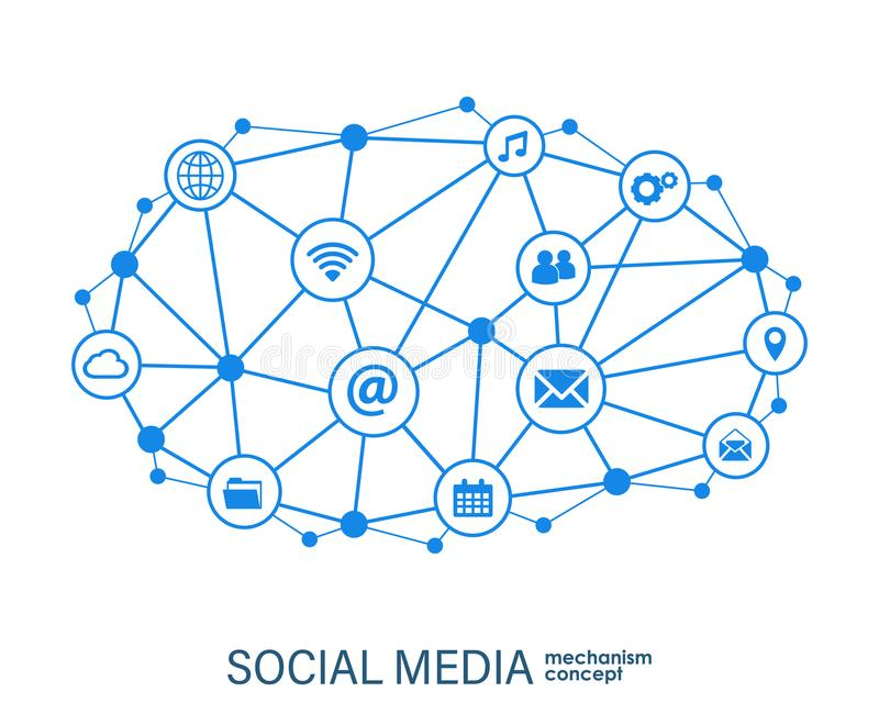 Social media connection concept. Abstract background with integrated circles and icons for digital, internet, network royalty free illustration