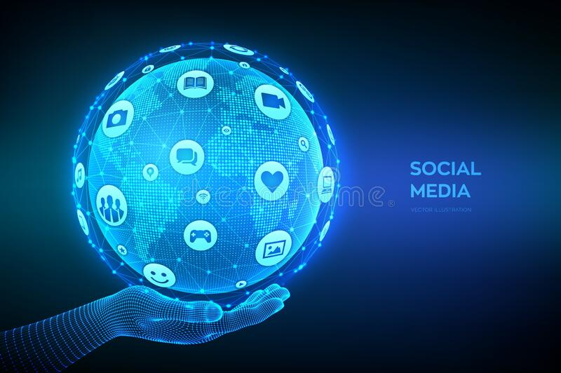 Social media connection concept. Wireframe sphere made from a different social media and computer icons. World map point and line royalty free stock photo