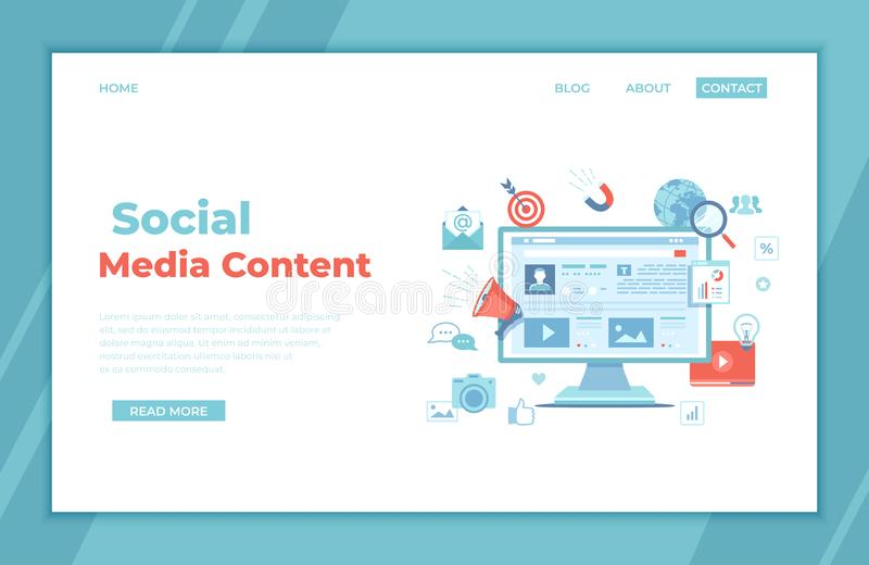 Social Media Content Strategy, management, services, development, marketing success, social sharing, web traffic. Monitor screen vector illustration
