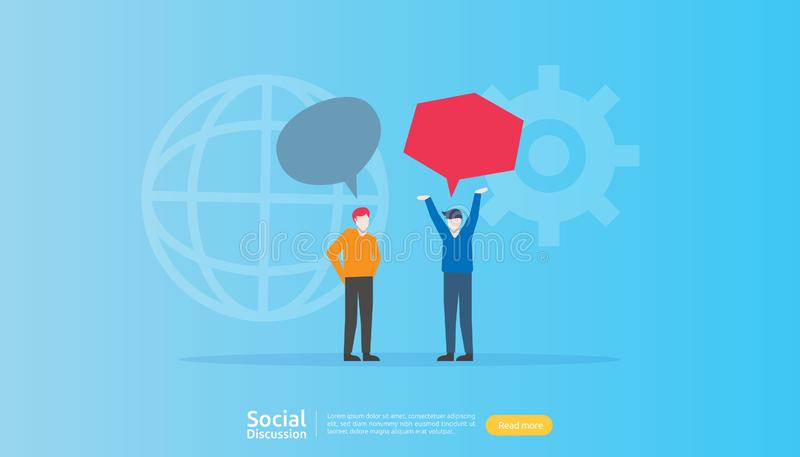 Social media conversation network. Chat dialogue bubbles communication people character. community chatting online. news discuss. Landing page template royalty free illustration
