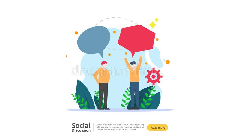 Social media conversation network. Chat dialogue bubbles communication people character. community chatting online. news discuss. Landing page template vector illustration