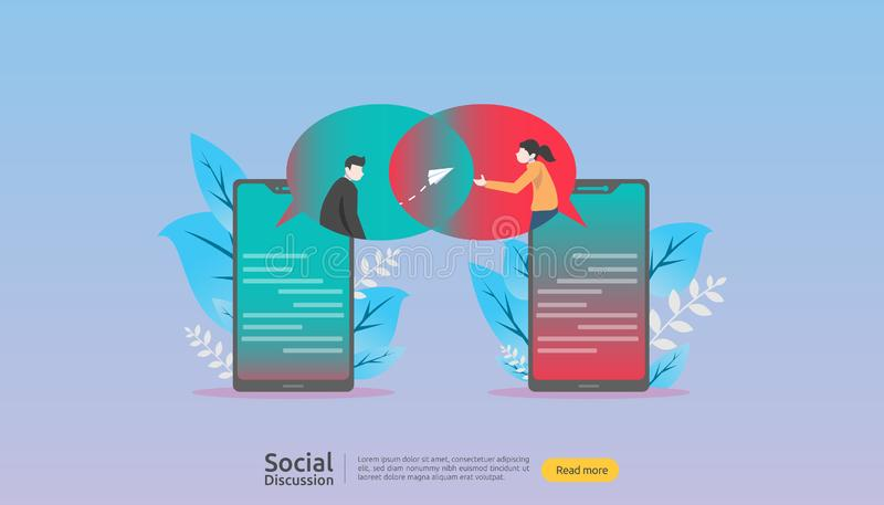 Social media conversation network. Chat dialogue bubbles communication people character. community chatting online. news discuss. Landing page template stock illustration