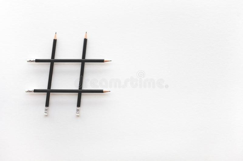 Social media and creativity concepts with Hashtag sign made of pencil.digital marketing images stock photo