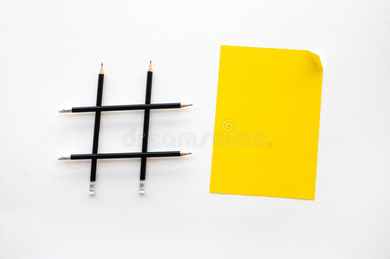 Social media and creativity concepts with Hashtag sign made of pencil.digital marketing images royalty free stock photo