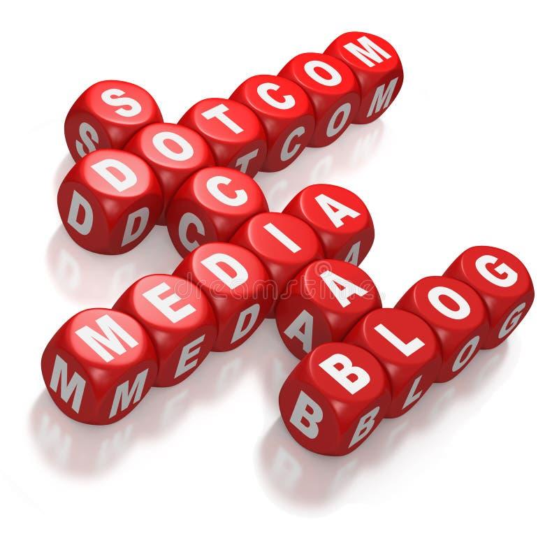 Social media crossword ideas on red dice vector illustration