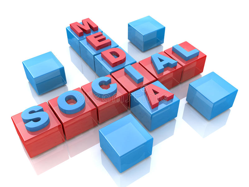 Social media 3D crossword on white background royalty free stock photo