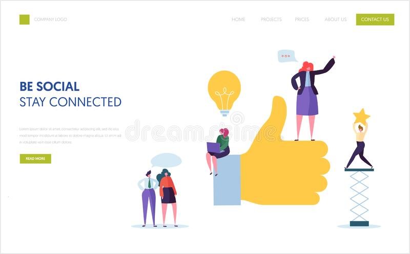 Social Media, das Landungsseitenschablone vermarktet Agentur-Team Characters Work Online Digital-Werbung für Geschäft stock abbildung