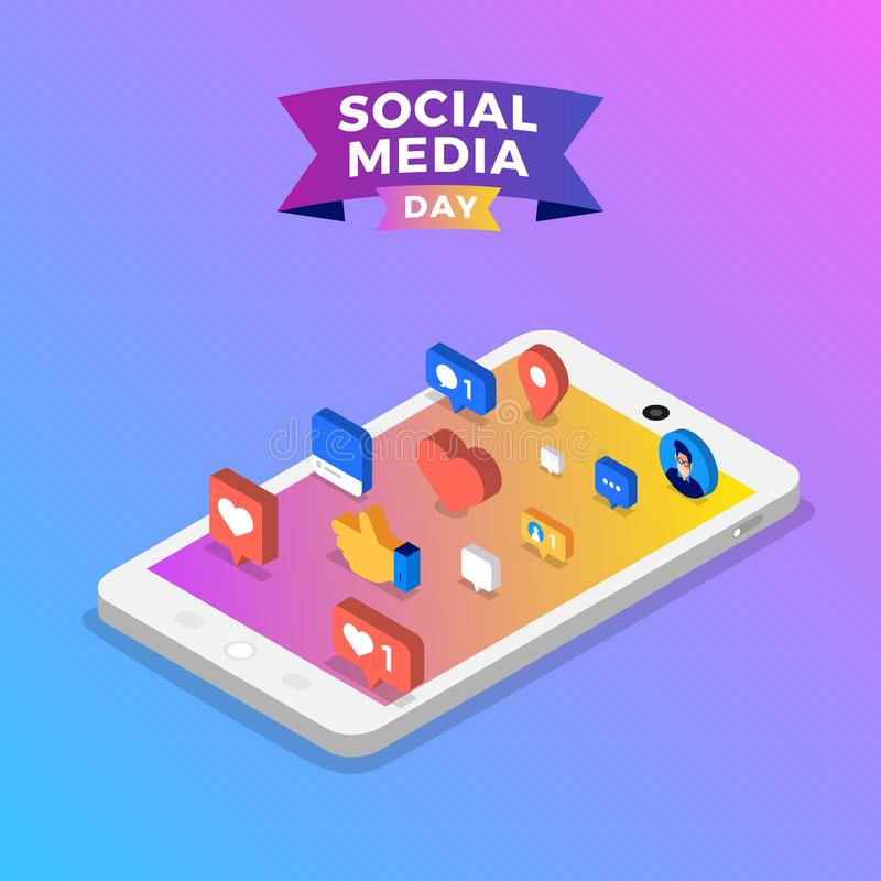 Social Media Day. Vector Illustration. Connecting people together with cutting-edge technology royalty free illustration