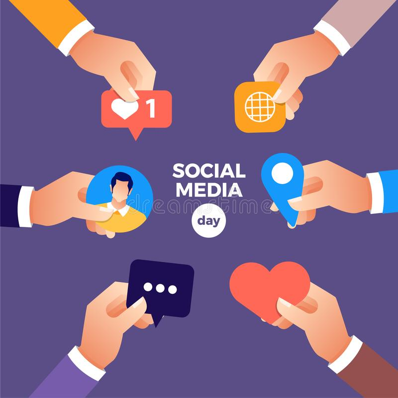Social Media Day stock illustration