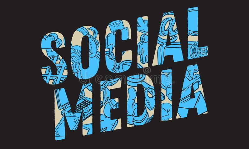Line Art Media Design : Social media design with isolated essential related objects icons