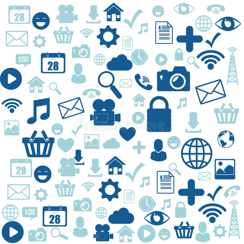 Social media design with multimedia icons. Illustration graphic royalty free illustration