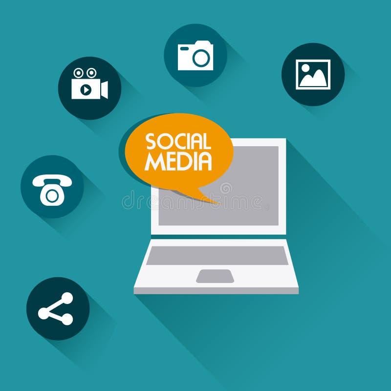 Social media design. Social media design over blue background, illustration vector illustration