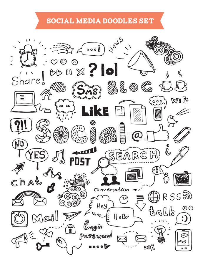 Social media doodle elements set. Hand drawn vector illustration of social media doodles elements. Isolated on white background