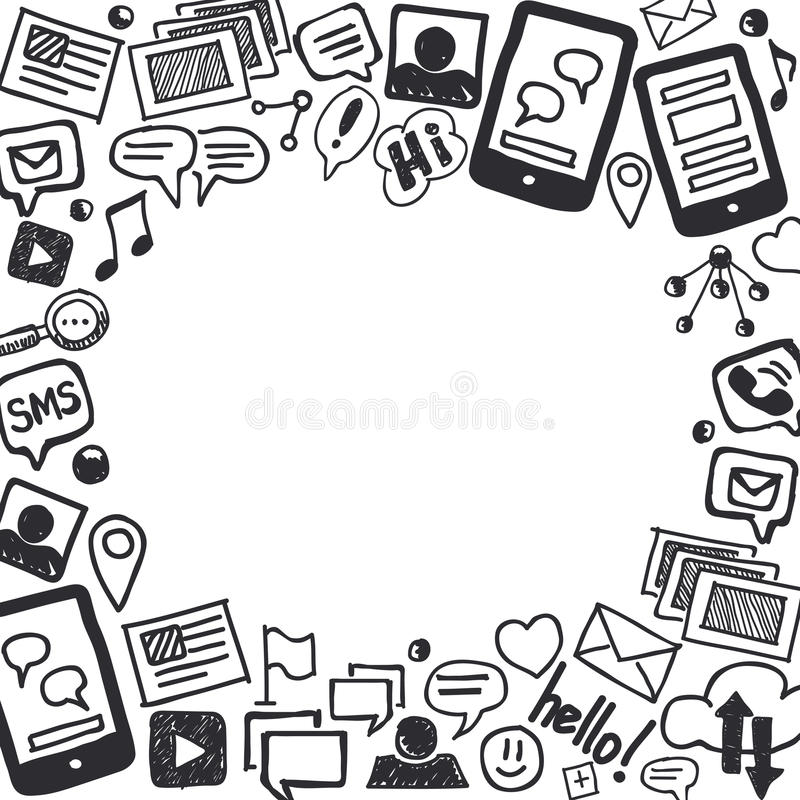 Social Media Doodles Background With Space For Text Stock Vector