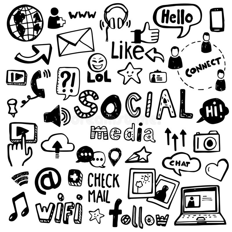 Social Media Doodles. Set of vector doodles - can be used to illustrate social media, connectivity, online activities, technology vector illustration