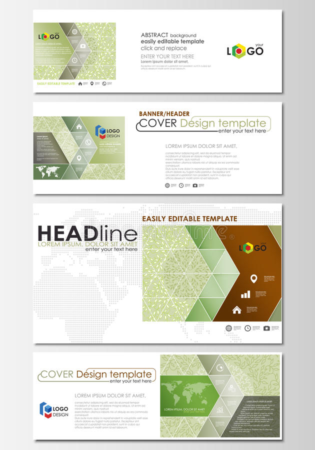 Social media and email headers set, modern banners. Business templates. Easy editable abstract design template, flat layout in popular sizes, vector stock illustration