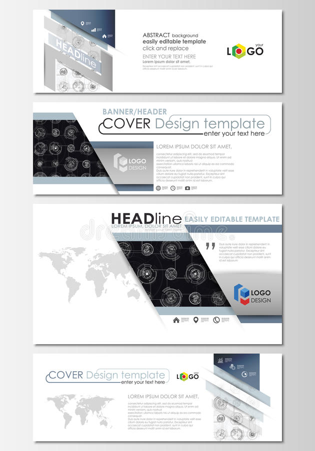 Social media and email headers set, modern banners. Business templates. Flat layouts in popular sizes. High tech design, connecting system. Science, technology vector illustration