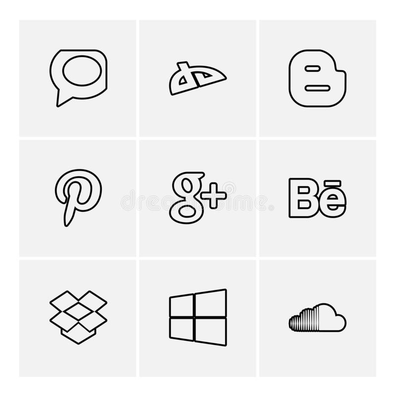 Social media eps icons set vector. Whatsapp , blogger , pintrest , google plus , behance , dropbox ,windows , soundcloud , social , media , social media, icon royalty free illustration