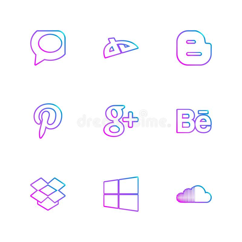 Social media eps icons set vector. Whatsapp , blogger , pintrest , google plus , behance , dropbox ,windows , soundcloud , social , media , social media, icon stock illustration