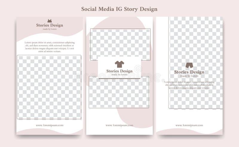 Social Media erröten editable ig instagram Geschichtenschablonenentwurfs-Rahmenhintergrund im netten Weiche rosa weibliche Modekl vektor abbildung