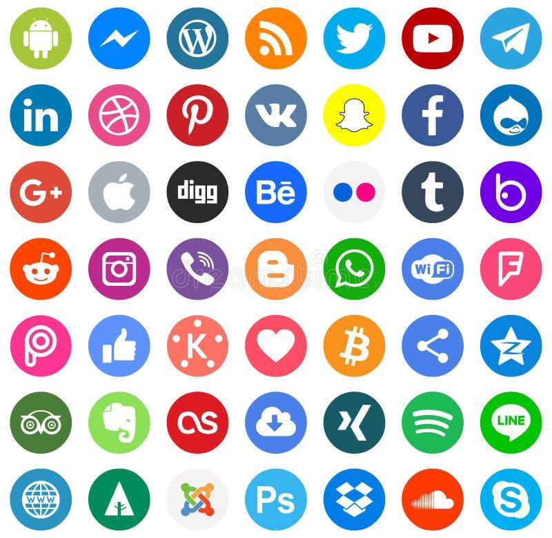 Social Media-Farbikonen Vektor eps10 lizenzfreie abbildung