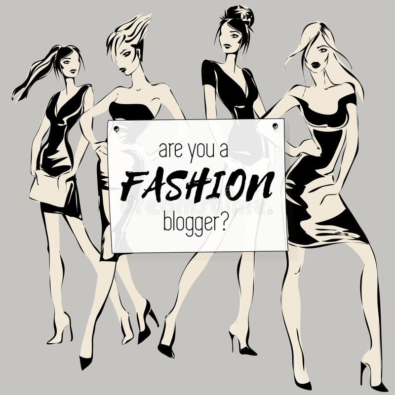 Social media fashion banner with beauty woman models, are you fashion blogger, ads web template collection. Vector illustration fo. R website, mobile banner stock illustration