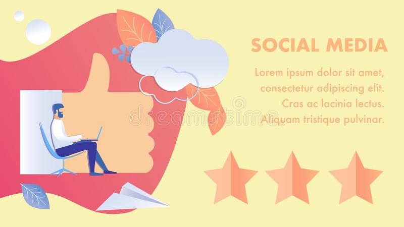 Social Media Feedback Flat Banner Vector Template. Blogger Working with Laptop Cartoon Character. Internet Leisure, Ranking, Evaluation System. Blog Review vector illustration