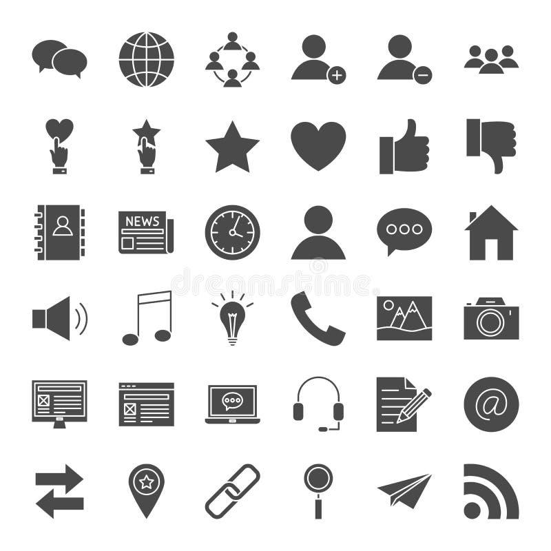 Social Media-feste Netz-Ikonen lizenzfreie abbildung