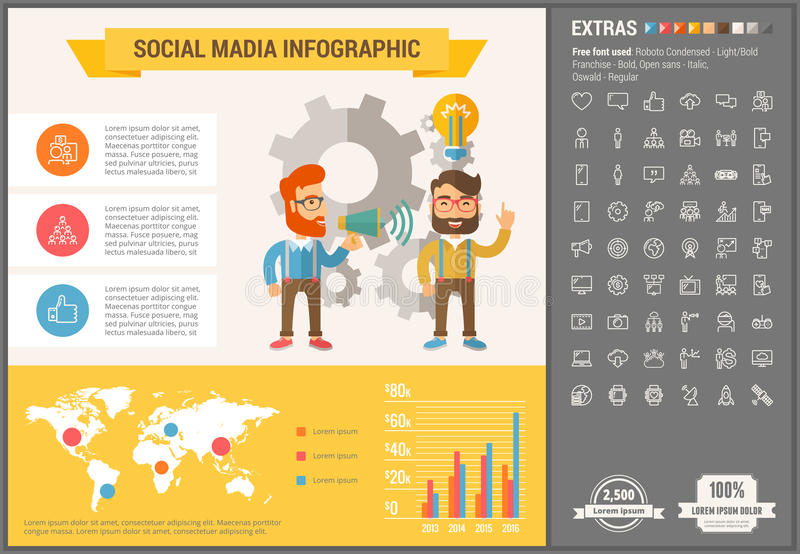 Social Media flat design Infographic Template. Social Media infographic template and elements. The template includes illustrations of hipster men and huge royalty free illustration