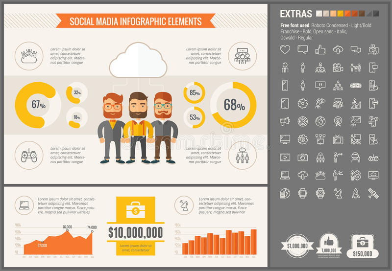 Social Media flat design Infographic Template. Social Media infographic template and elements. The template includes illustrations of hipster men and huge vector illustration